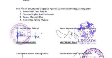 Pers Rilis Bersama: Pakisaji sebagai Pilot Project Desa Inklusi di Kabupaten Malang